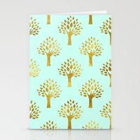 gold foil Stationery Cards featuring Mint Gold Foil 02 by Aloke Design