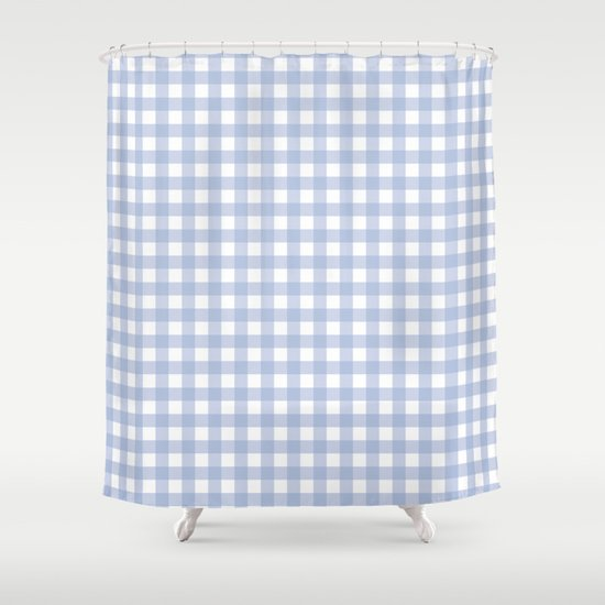 Pantone 2016: Serenity Small Gingham Shower Curtain