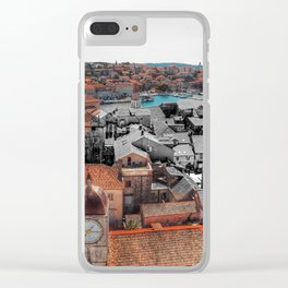 Trogir, Croatia Skyline Photograph Color/Black & White Mashup Clear iPhone Case