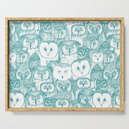 just owls teal blue Serving Tray