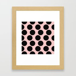 Millennial Pink Brown Dots Framed Art Print