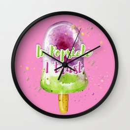 Summer vibe. Watercolor illustration of a popsicle. Wall Clock