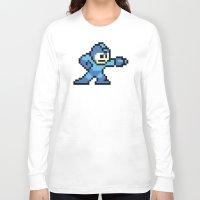 mega man Long Sleeve T-shirts featuring Pixelated Mega Man by Katadd