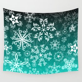 Symbols in Snowflakes on Winter Green Wall Tapestry