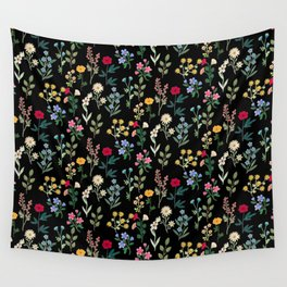 Spring Botanicals Black Wall Tapestry