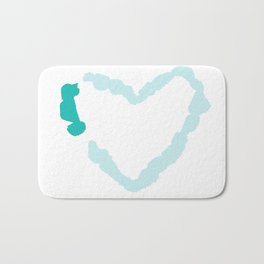 Two Tone Turquoise Broken Heart Series Bath Mat