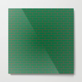 Green Wall Red Line Metal Print