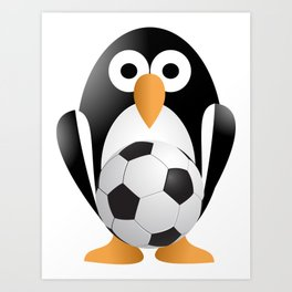 Funny penguin with a soccer ball Art Print
