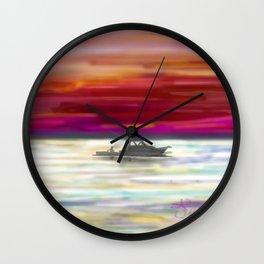 Fishing in Neon Wall Clock