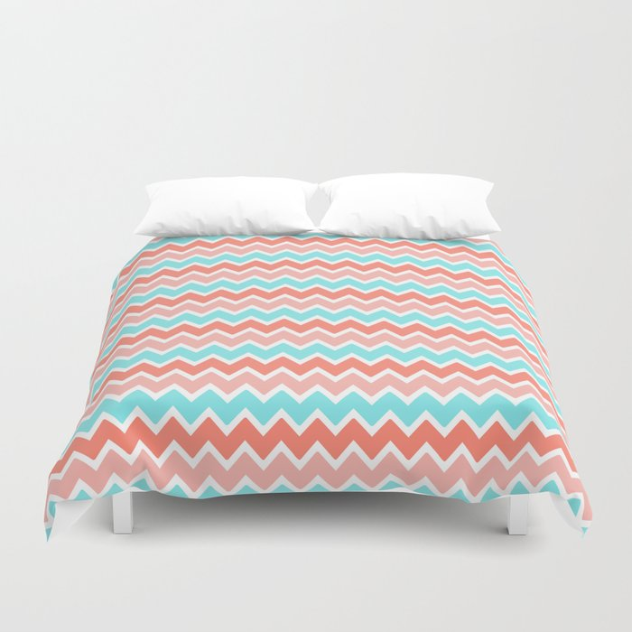 Coral Peach Pink And Aqua Turquoise Blue Chevron Duvet Cover By  Decampstudios | Society6