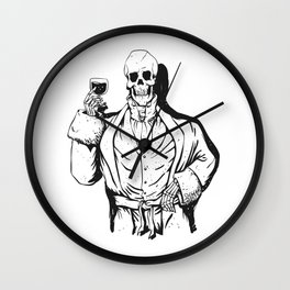 Vampire skeleton holding blood cup -  black and white Wall Clock