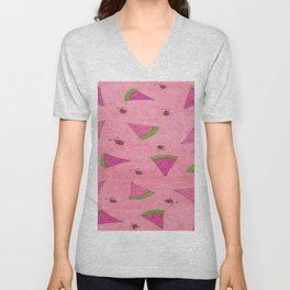 Watermelons and Lady Bugs Unisex V-Neck