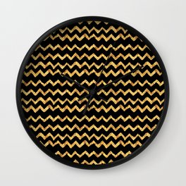 Gold Waves on Black Background Wall Clock