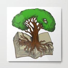Oak Tree Roots on Book Tattoo Metal Print