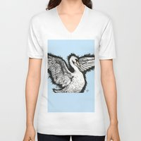 swan queen V-neck T-shirts featuring Swan by MelPetrinack