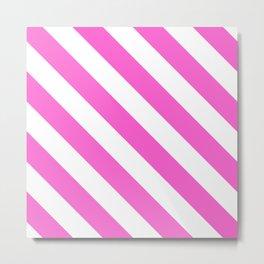Pink Diagonal Stripes Metal Print
