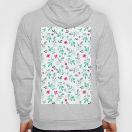 Hand painted watercolor pink teal green foliage floral Hoody