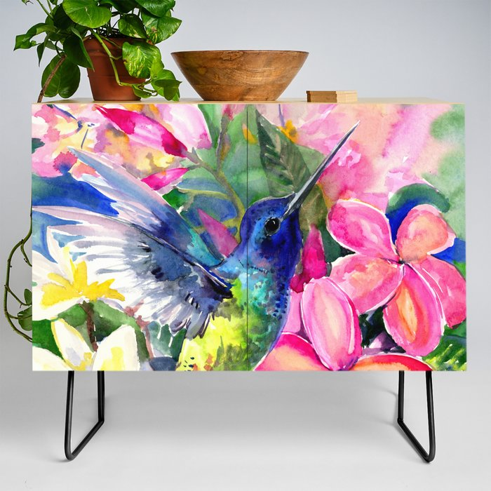 Hummingbird_and_Plumeria_Florwers_Tropical_bright_colored_foliage_floral_Hawaiian_Flowers_Credenza_by_SurenArt__Black__Birch