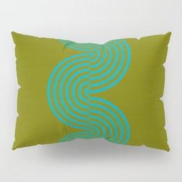 groovy minimalist pattern aqua waves on olive Pillow Sham
