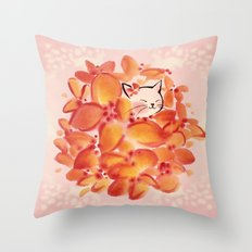 Flowerball Cat Bride Throw Pillow