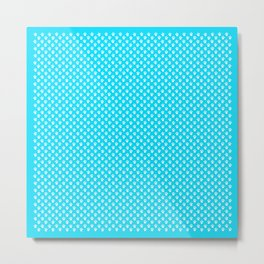 Tiny Paw Prints Pattern - Bright Turquoise & White Metal Print