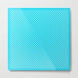 Tiny Paw Prints Pattern - Bright Turquoise & White Metal Print