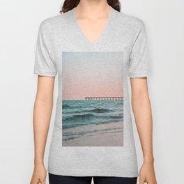 Beach Pier Sunrise Unisex V-Neck