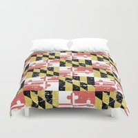 maryland Duvet Covers featuring Distressed Maryland Flag by RSG514