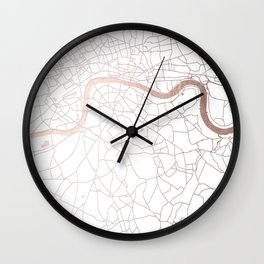White on Rosegold London Street Map Wall Clock
