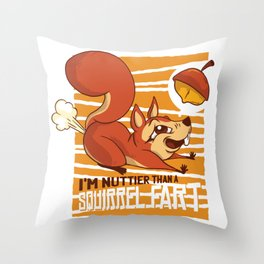 squirrel fart funny  Throw Pillow