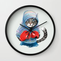 Boxing Cat Wall Clock
