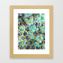 Succulent Geometric Modern Illustration Framed Art Print