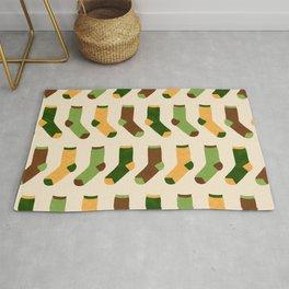 Colorful Socks Pattern - Green & Yellow Rug