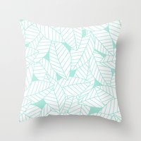 Leaves in Ocean Throw Pillow