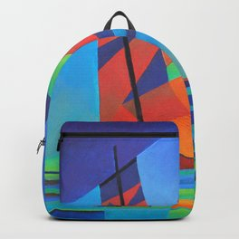 Cubist Abstract Junk Boat Against Deep Blue Sky Backpack