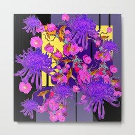 Purple Spider Mums Black & Grey Art Pink Flowers Metal Print