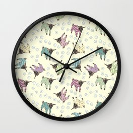 Pajama'd Baby Goats - Yellow Wall Clock