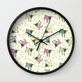 Pajama'd Baby Goats - Yellow Wall Clock