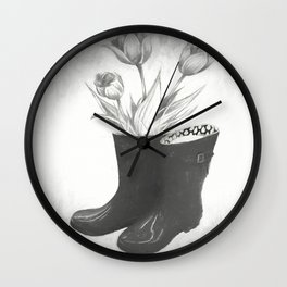 These boots are made for flowers Wall Clock