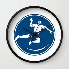 Handball Player Jumping Throwing Ball Icon Wall Clock