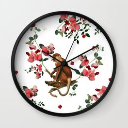 Monkey World: Nosy - White Wall Clock