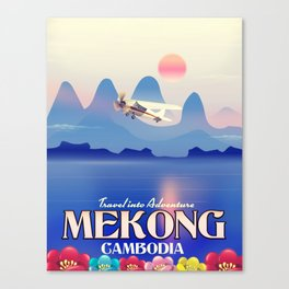 Mekong Cambodia vacation poster. Canvas Print