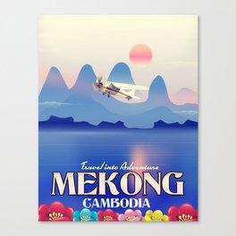 Mekong Cambodia vacation poster. Canvas Print
