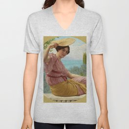 "John William Godward ""Golden Hours (Expectancy)"" Unisex V-Neck"