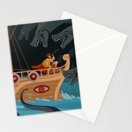 odysseus fighting Scylla and Charybdis Greek mythology monsters Stationery Cards