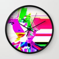 holographic Wall Clocks featuring future holographic lover by Robert Alan