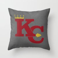 kansas city Throw Pillows featuring Kansas City Sports Red by Haley Jo Phoenix