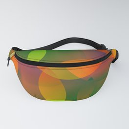 Abstract soap of blue and green bright circles and bubbles on a luminous background. Fanny Pack