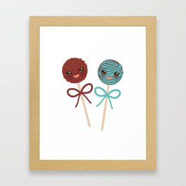 cute funny kawaii chocolate and blue Sweet Cake pops set with bow on white background Framed Art Print
