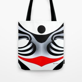 Black White and Red Geometric Abstract Tote Bag
